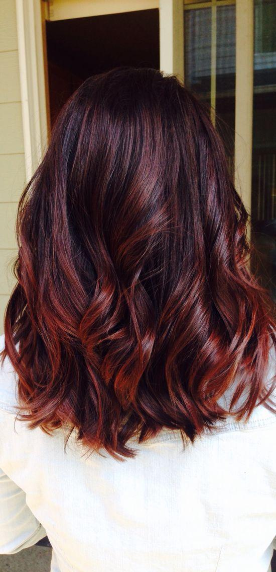 very dark hair with black cherry highlights