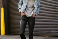23 black leather leggings with a denim jacket and sneakers for a fun, edgy weekend look
