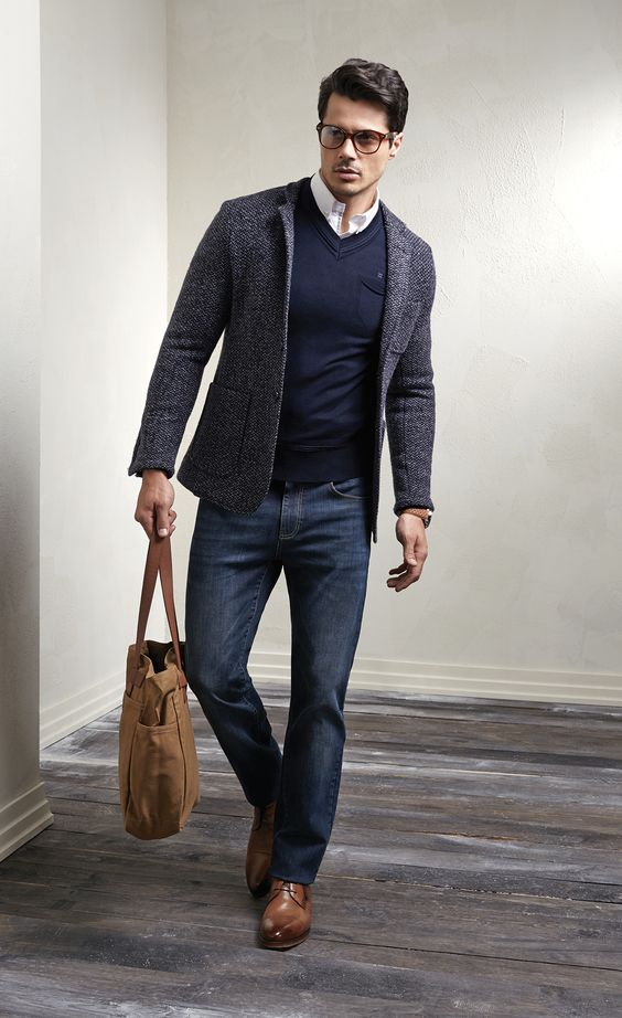 blue denim, a navy sweater, a tweed jacket as a fall men work look