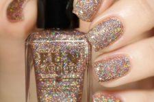 23 bronze holographic glitter nails
