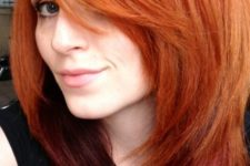 23 fiery copper hair with dark red ombre