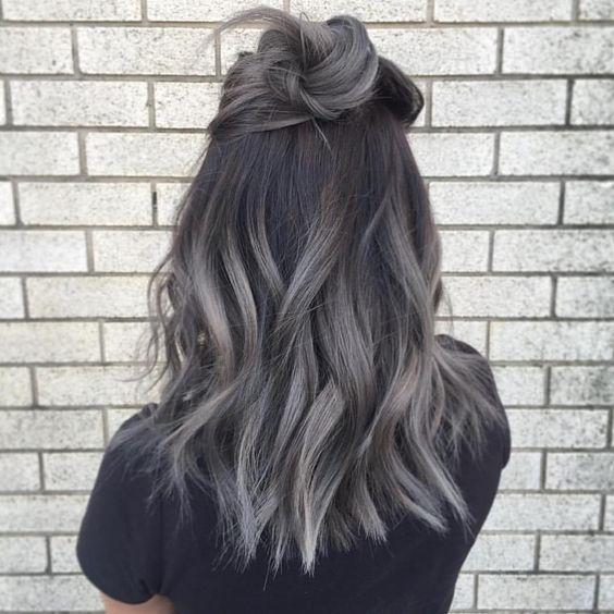 navy hair with grey balayage