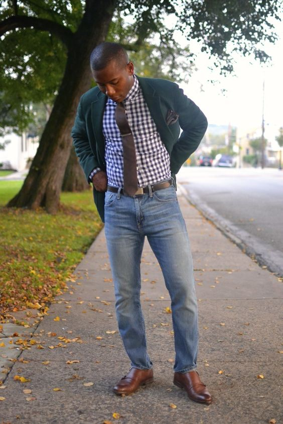 a gingham shirt, a green jacket, cognac shoes