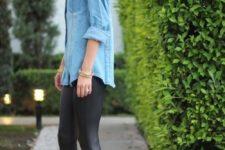 24 a street style denim shirt, leather leggings and heels