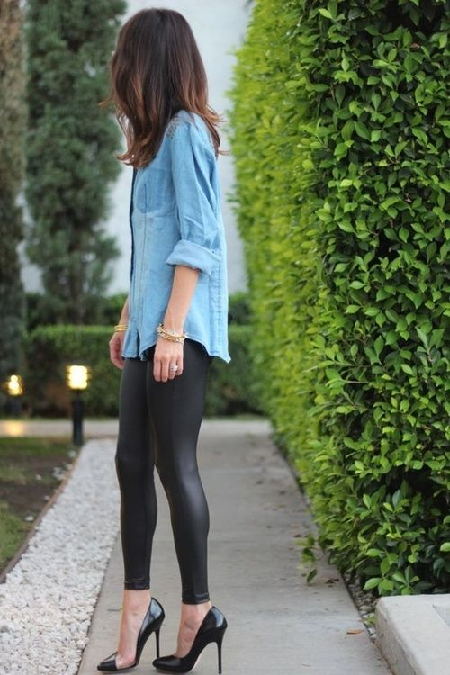 a street style denim shirt, leather leggings and heels
