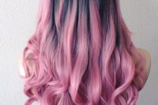 24 black to pink ombre hair