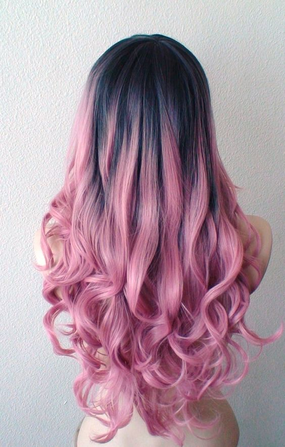 Picture Of Black To Pink Ombre Hair