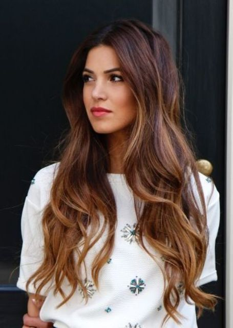 dark long locks with chestnut brown balayage
