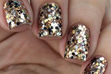 24 holiday manicure with large gold sequins