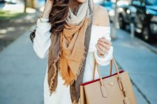 24 off the shoulder white sweater dress and a blanket scarf