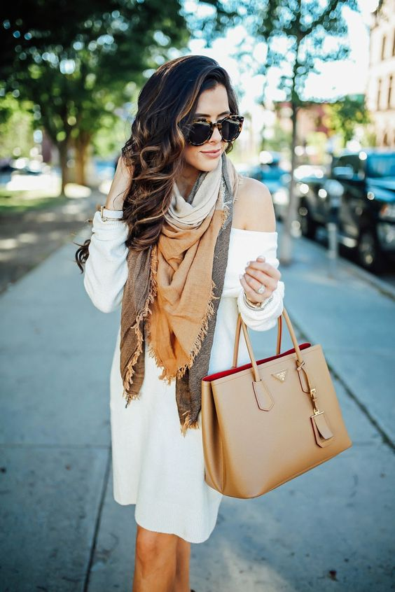 ab12c2d039 Picture Of off the shoulder white sweater dress and a blanket scarf