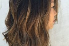 24 textured bob with caramel ombre wavy hair