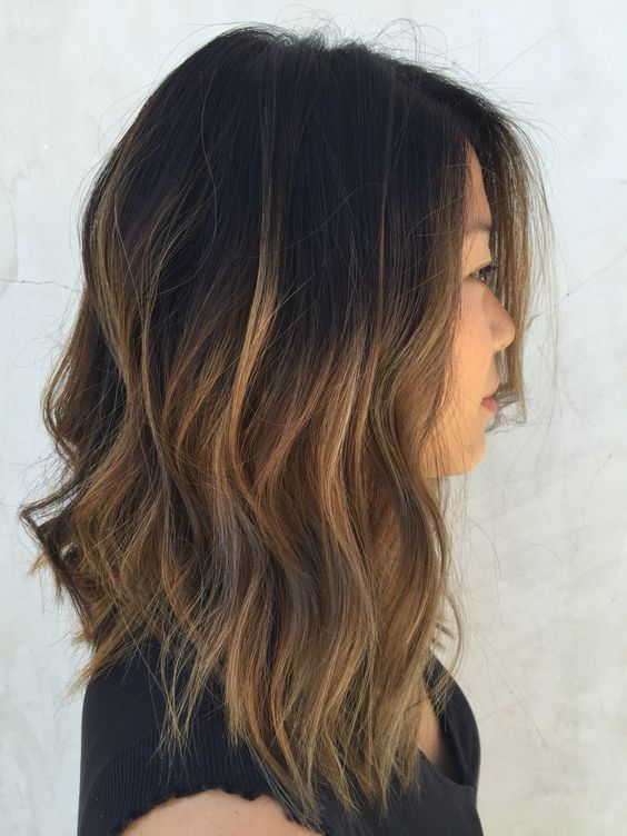 textured bob with caramel ombre wavy hair