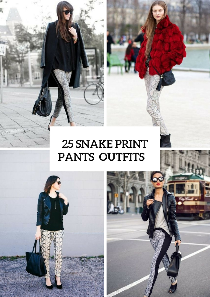 Sexy Snake Print Pants Outfits For Fall