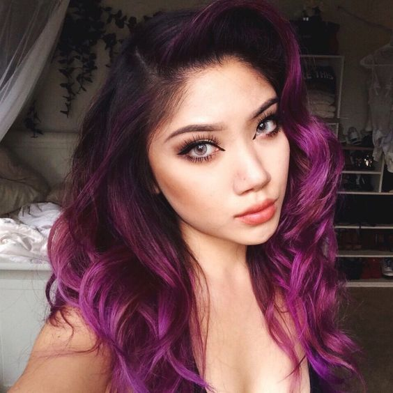 black and magenta balayage hair