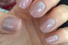 25 mauve nails with multi silve glitter