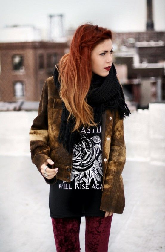 red copper hair with caramel ombre hair