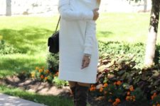 25 white off the shoulder dress with grey suede tall boots