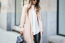 26 faux leather leggings, a long white shirt, a blush coat and nude heels