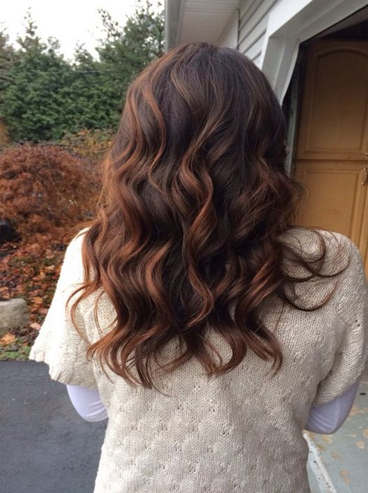 long light auburn on dark brown hair