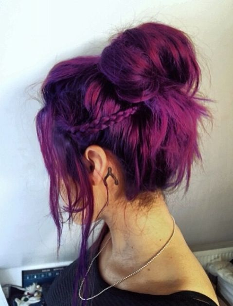 magenta and purple balayage hair