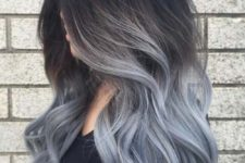 26 ombre hair from black to blue grey shade