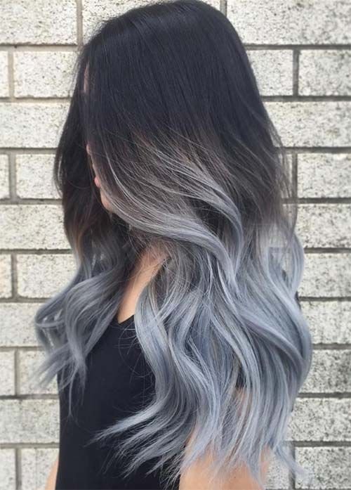 ombre hair from black to blue grey shade