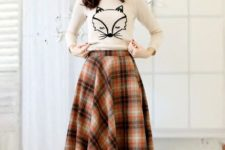 26 plaid midi skirt, a printed shirt and flats for a comfy casual look