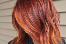 26 red copper to orange copper balayage