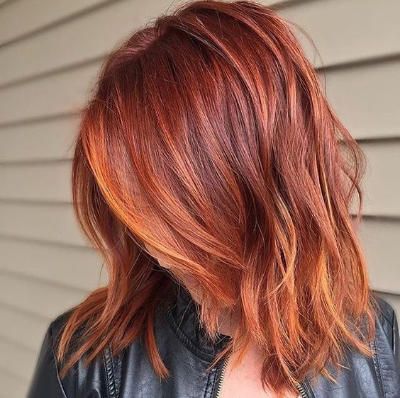 red copper to orange copper balayage