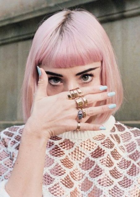 short pink hair with a fringe