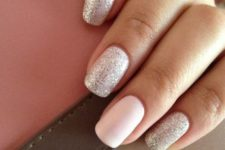26 silver nails with a plain white accent nail
