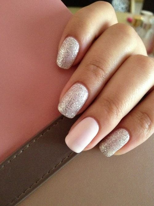 silver nails with a plain white accent nail