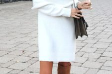 26 white off the shoulder sweater dress and tan suede tall boots