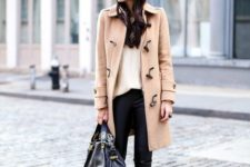 27 leggings, a neutral sweater, a camel coat and heels