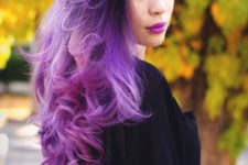27 ombre hair from black to bright purple and magenta