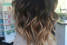 27 wavy long bob with balayage from black to chestnut