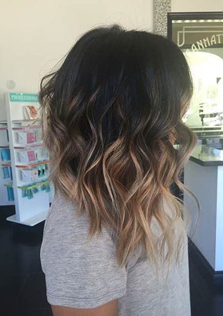 wavy long bob with balayage from black to chestnut