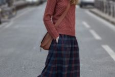 28 plaid midi skirt, a red brown sweater and sneakers