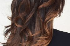 28 very dark brown hair with brown and dark caramel balayage