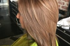 29 beautiful warm light brown all over with caramel lowlights and subtle light blonde highlights