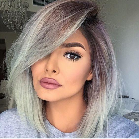 purple lowlights with light grey hair