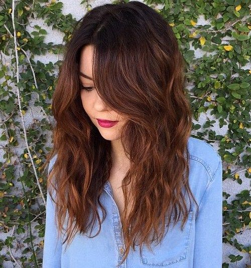 ombre hair with dark roots to chestnut brown