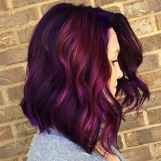 purple and magenta balayage hair