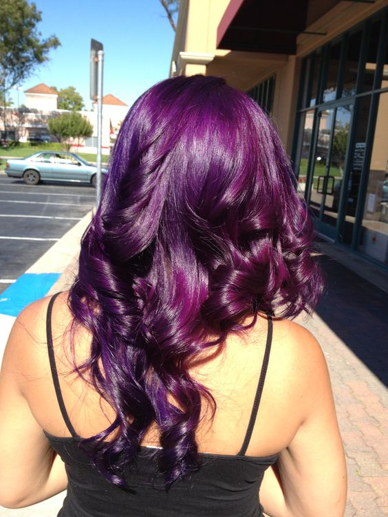 purple hair balayage with magenta and various shades of purple