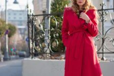 red wrap coat