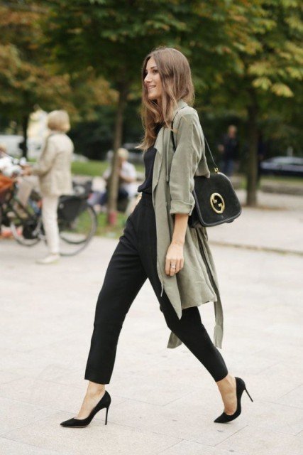 With black bag and olive green blazer