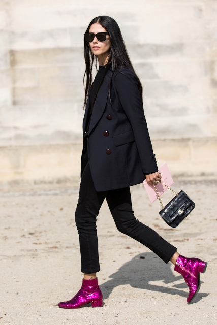 With black blazer, crop pants and mini bag