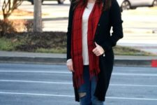 With black blazer, red scarf and cuffed jeans