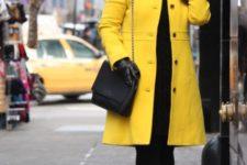 yellow coat look
